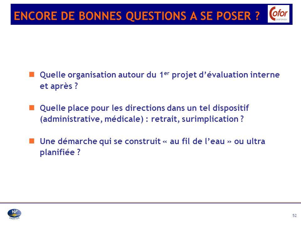 52 Quelle organisation autour du 1 er projet dévaluation interne et après ? Quelle place pour les directions dans un tel dispositif (administrative, m