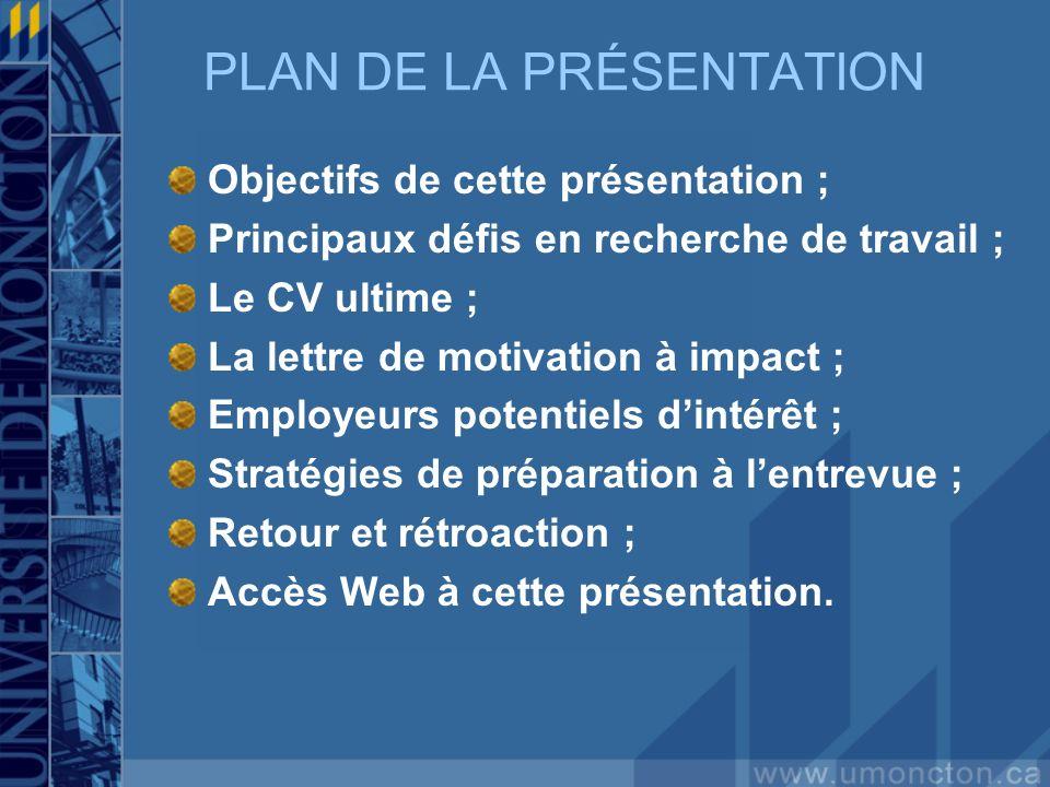 PLAN DE LA PRÉSENTATION Objectifs de cette présentation ; Principaux défis en recherche de travail ; Le CV ultime ; La lettre de motivation à impact ;