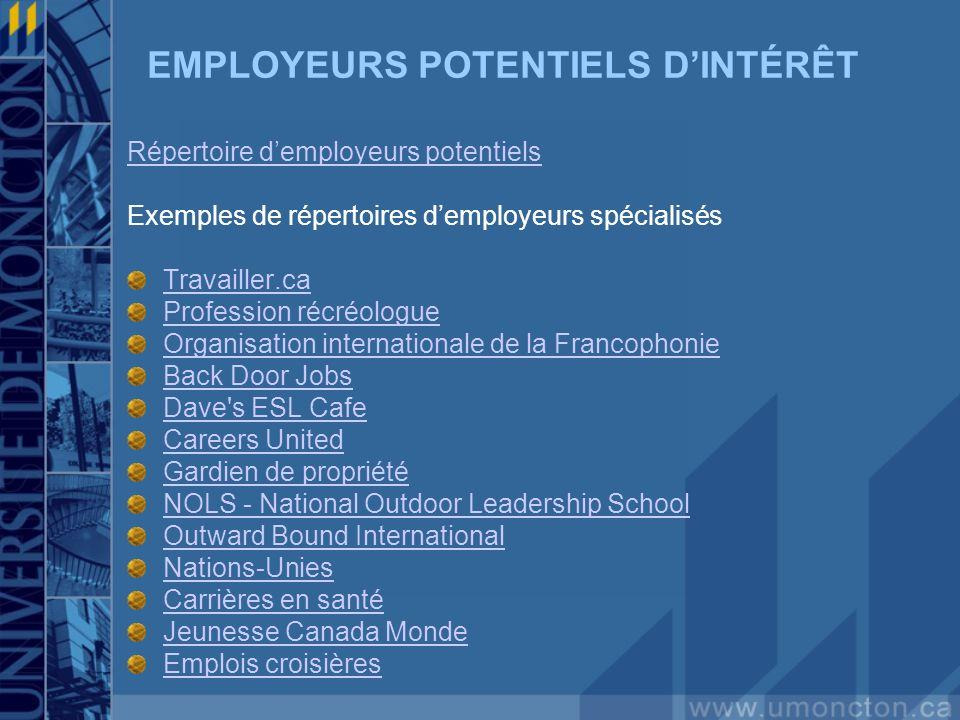 EMPLOYEURS POTENTIELS DINTÉRÊT Répertoire demployeurs potentiels Exemples de répertoires demployeurs spécialisés Travailler.ca Profession récréologue