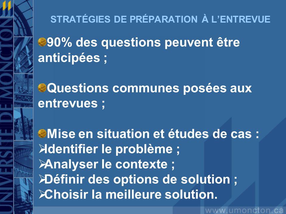 STRATÉGIES DE PRÉPARATION À LENTREVUE 90% des questions peuvent être anticipées ; Questions communes posées aux entrevues ; Mise en situation et étude