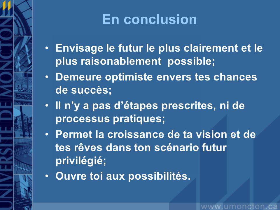 En conclusion Envisage le futur le plus clairement et le plus raisonablement possible; Demeure optimiste envers tes chances de succès; Il ny a pas dét