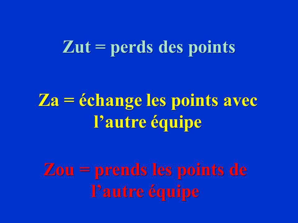 Zut = perds des points Za = échange les points avec lautre équipe Zou = prends les points de lautre équipe