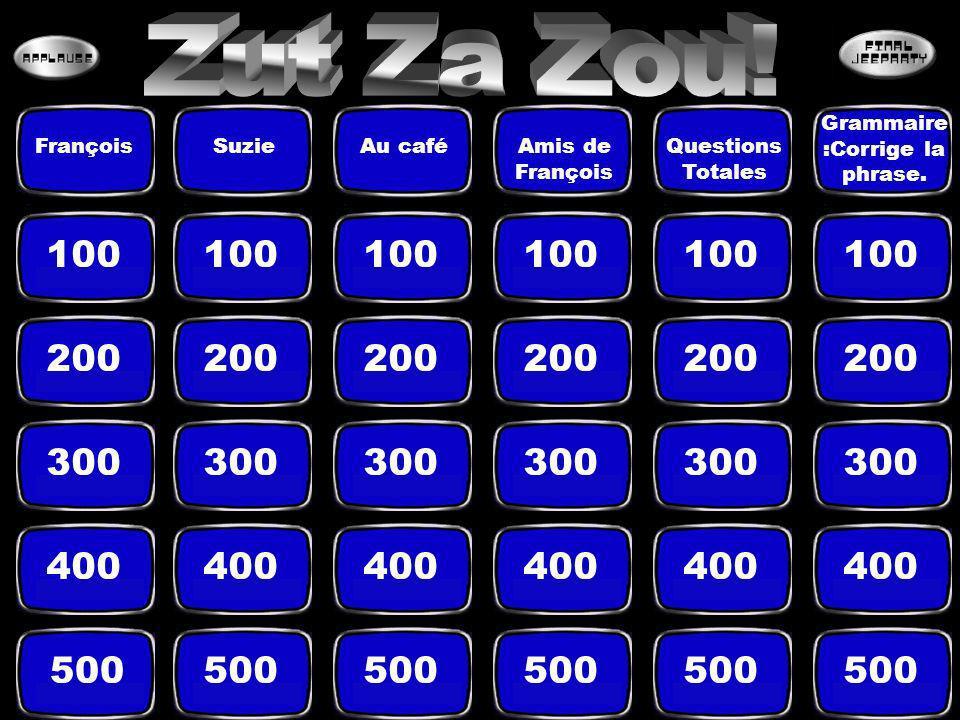 100 200 300 400 500 FrançoisSuzieAu caféAmis de François Questions Totales Grammaire :Corrige la phrase.