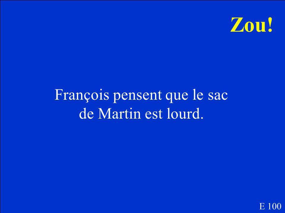Est-ce que François pensent que le sac de Martin est lourd ou léger? E 100