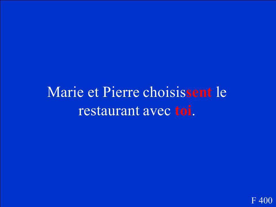 Marie et Pierre choisis le restaurant avec tu. F 400 Zut!