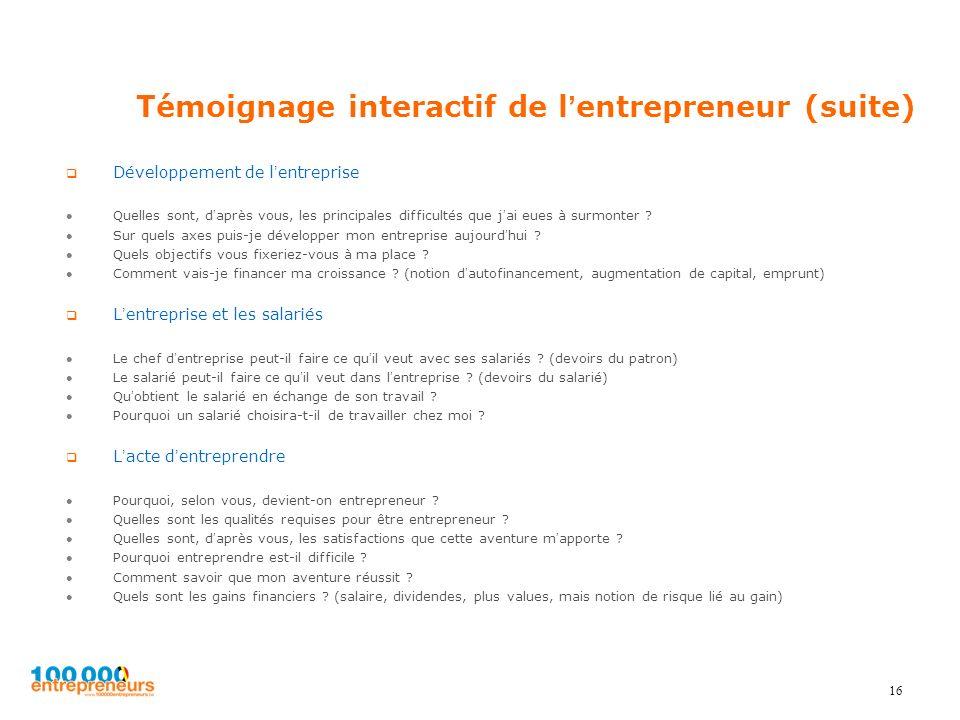 Témoignage interactif de lentrepreneur (suite) Développement de lentreprise Quelles sont, daprès vous, les principales difficultés que jai eues à surm