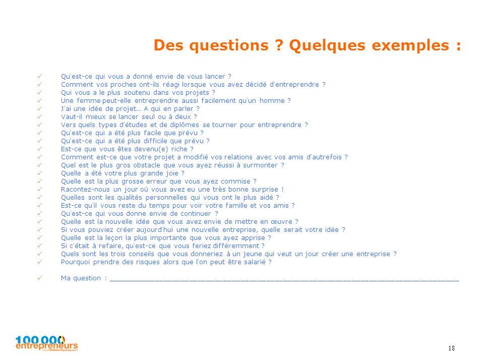 18 Des questions ? Quelques exemples : Quest-ce qui vous a donné envie de vous lancer ? Comment vos proches ont-ils réagi lorsque vous avez décidé den