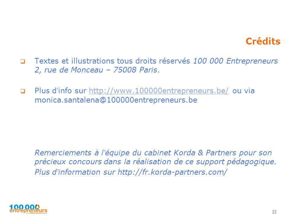 22 Crédits Textes et illustrations tous droits réservés 100 000 Entrepreneurs 2, rue de Monceau – 75008 Paris. Plus dinfo sur http://www.100000entrepr