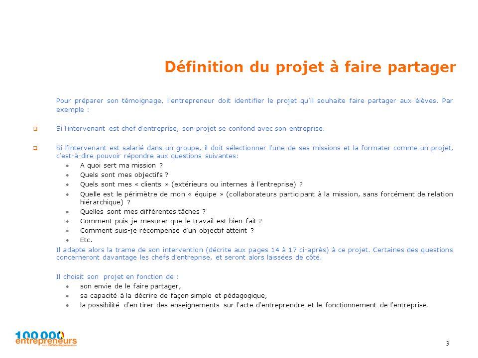 Définition du projet à faire partager Pour préparer son témoignage, lentrepreneur doit identifier le projet quil souhaite faire partager aux élèves. P