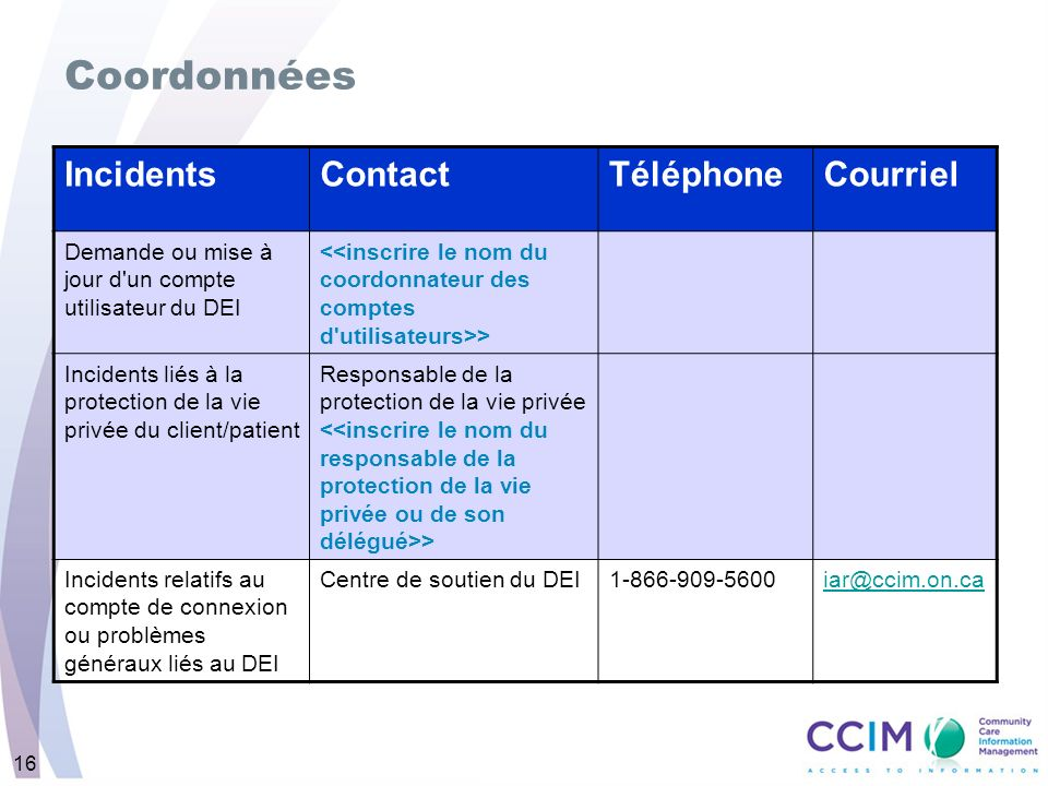 16 Coordonnées IncidentsContactTéléphoneCourriel Demande ou mise à jour d un compte utilisateur du DEI > Incidents liés à la protection de la vie privée du client/patient Responsable de la protection de la vie privée > Incidents relatifs au compte de connexion ou problèmes généraux liés au DEI Centre de soutien du DEI1-866-909-5600iar@ccim.on.ca
