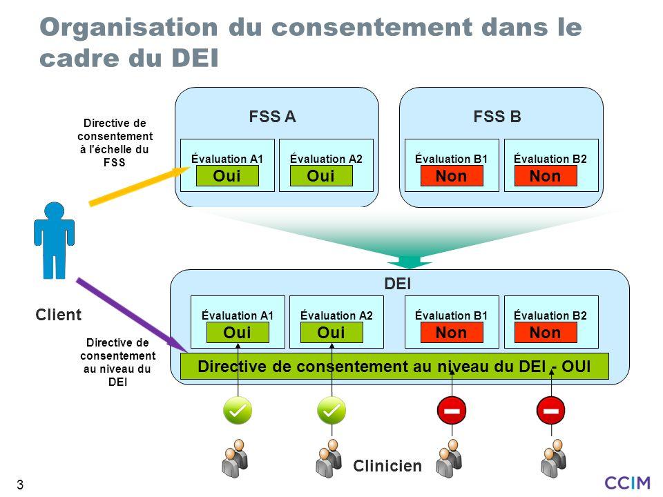 3 Directive de consentement à l'échelle du FSS Client Organisation du consentement dans le cadre du DEI FSS A Évaluation A1Évaluation A2 Oui FSS B Éva