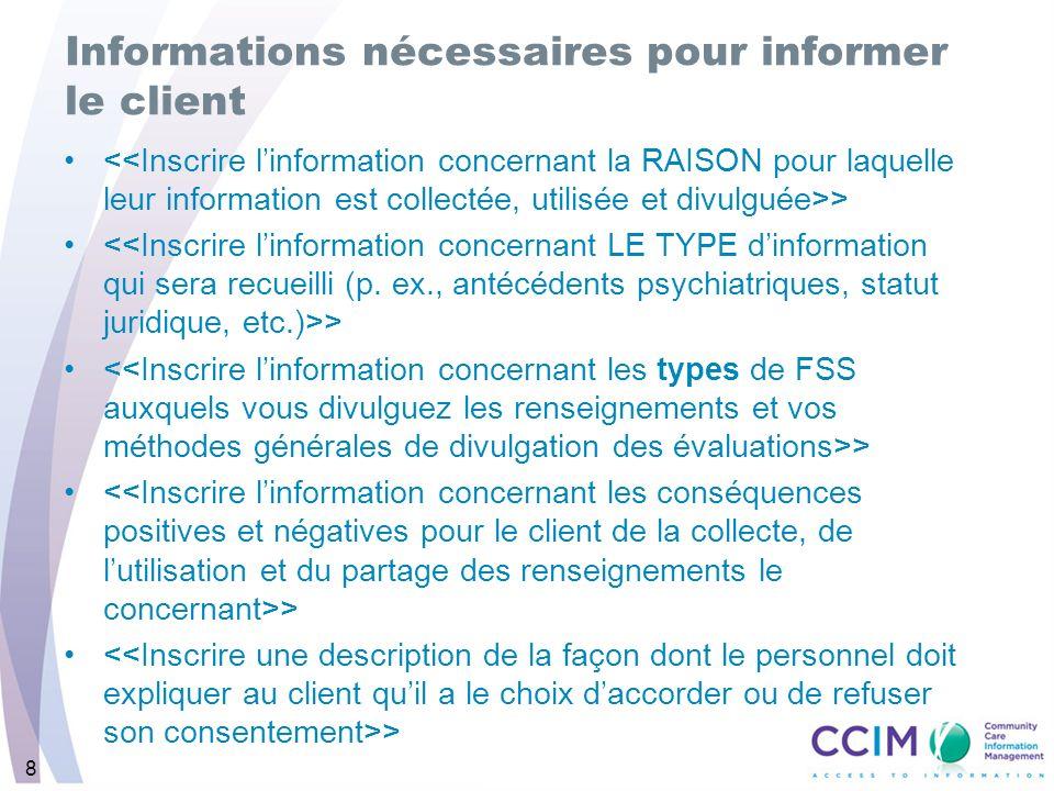 8 Informations nécessaires pour informer le client >