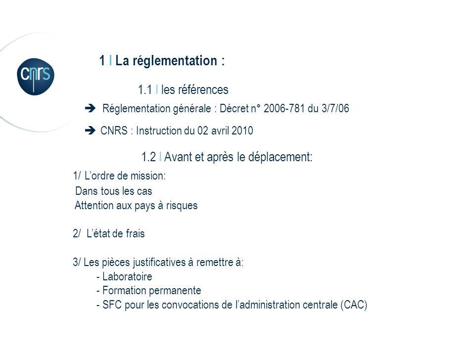 1 I La réglementation : 1.1 I les références Réglementation générale : Décret n° 2006-781 du 3/7/06 CNRS : Instruction du 02 avril 2010 1.2 I Avant et