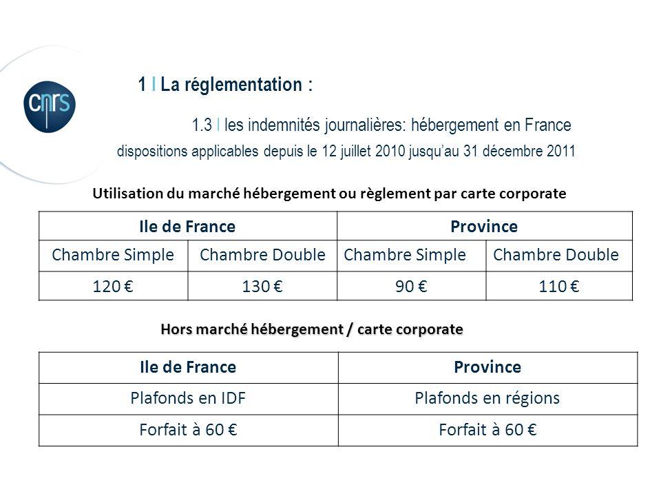 1 I La réglementation : 1.3 I les indemnités journalières: hébergement en France dispositions applicables depuis le 12 juillet 2010 jusquau 31 décembr