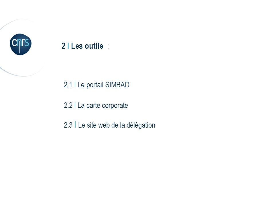 2 I Les outils : 2.1 I Le portail SIMBAD 2.2 I La carte corporate 2.3 I Le site web de la délégation
