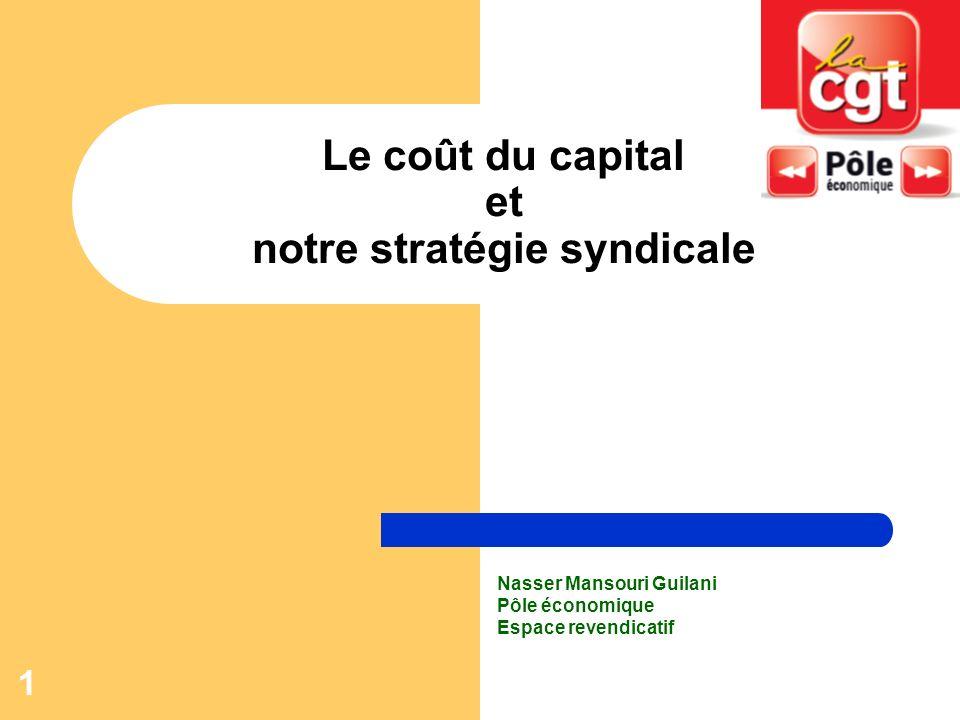 1 Le coût du capital et notre stratégie syndicale Nasser Mansouri Guilani Pôle économique Espace revendicatif