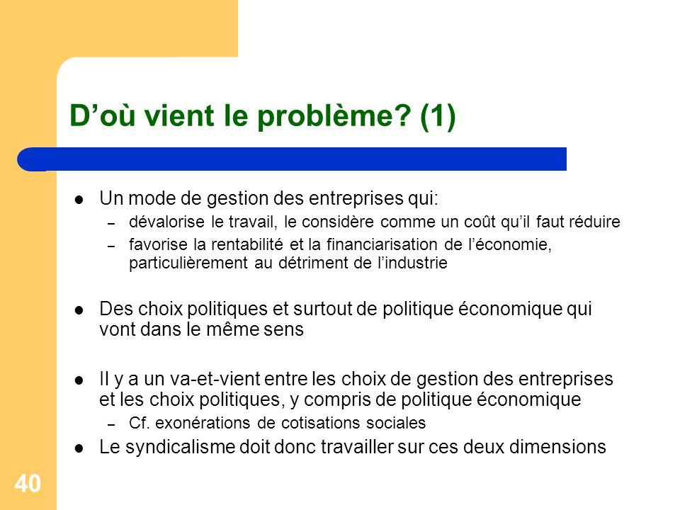 40 Doù vient le problème? (1) Un mode de gestion des entreprises qui: – dévalorise le travail, le considère comme un coût quil faut réduire – favorise