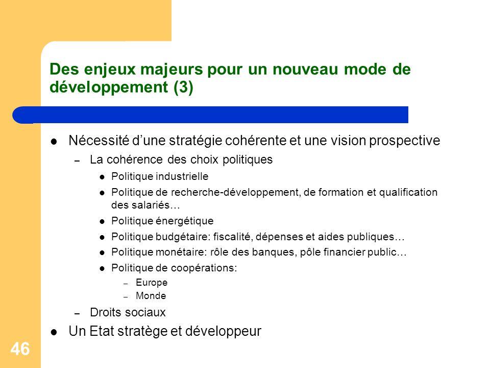 46 Des enjeux majeurs pour un nouveau mode de développement (3) Nécessité dune stratégie cohérente et une vision prospective – La cohérence des choix
