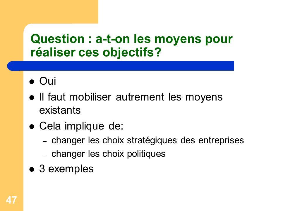 47 Question : a-t-on les moyens pour réaliser ces objectifs? Oui Il faut mobiliser autrement les moyens existants Cela implique de: – changer les choi