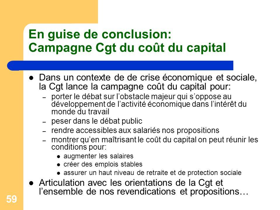 59 En guise de conclusion: Campagne Cgt du coût du capital Dans un contexte de de crise économique et sociale, la Cgt lance la campagne coût du capita