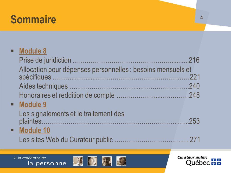215 Les décès Références (suite) Formulaires Avis de décès Liste du mobilier et des effets personnels au moment du décès ` Module 7