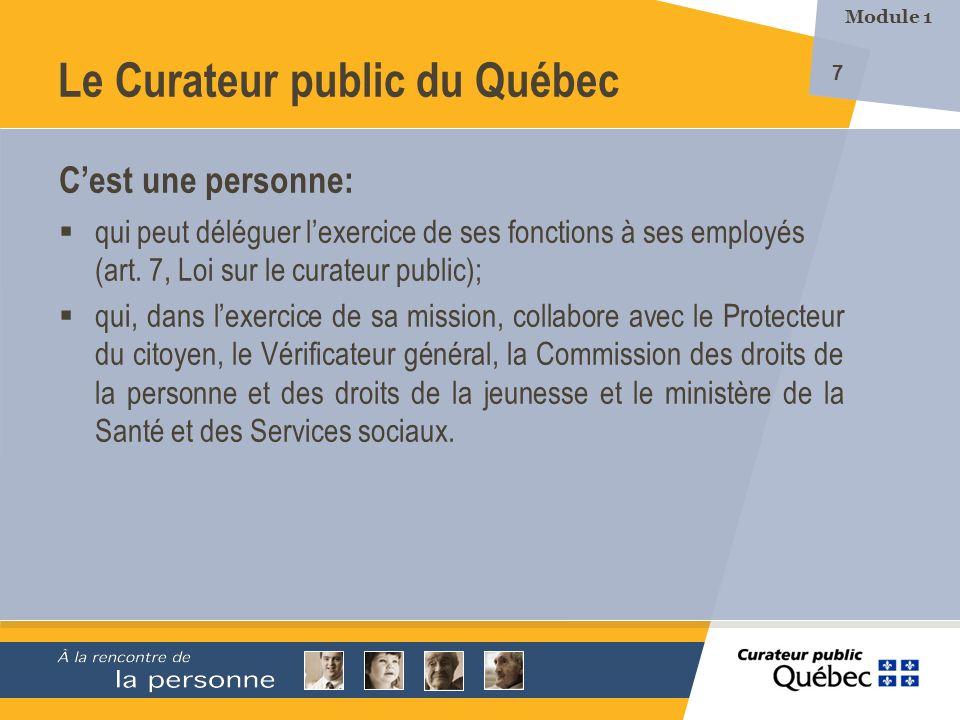8 Le Curateur public du Québec Ses pouvoirs et ses fonctions sont définis par le Code civil du Québec et par la Loi sur le curateur public.