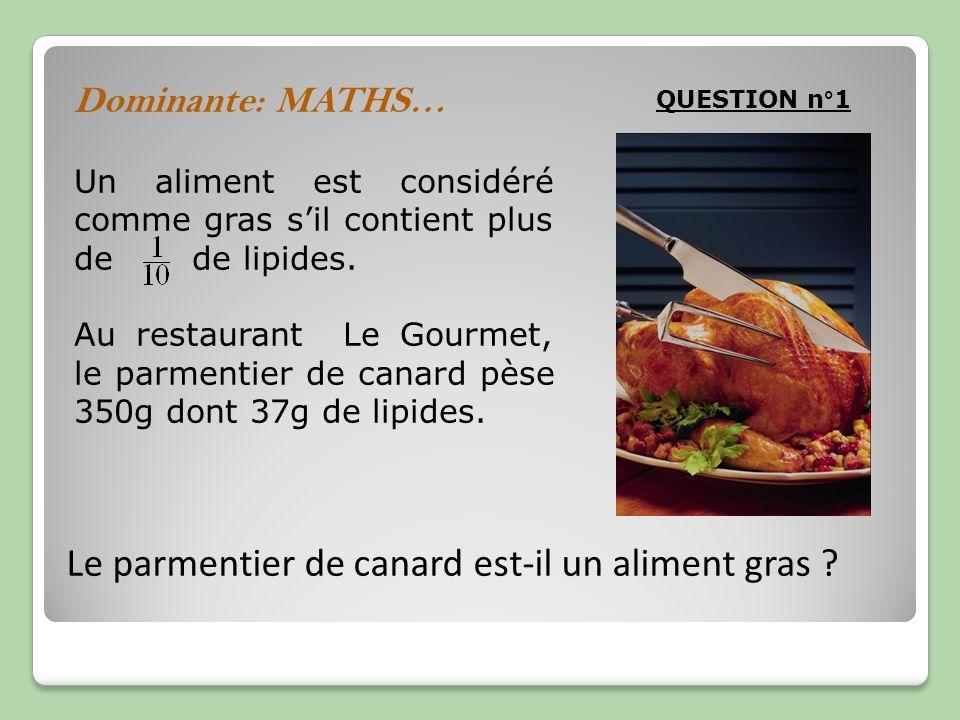 Un aliment est considéré comme gras sil contient plus de de lipides. Au restaurant Le Gourmet, le parmentier de canard pèse 350g dont 37g de lipides.