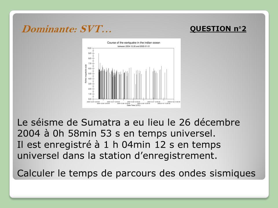 Dominante: SVT… QUESTION n°2 Le séisme de Sumatra a eu lieu le 26 décembre 2004 à 0h 58min 53 s en temps universel. Il est enregistré à 1 h 04min 12 s