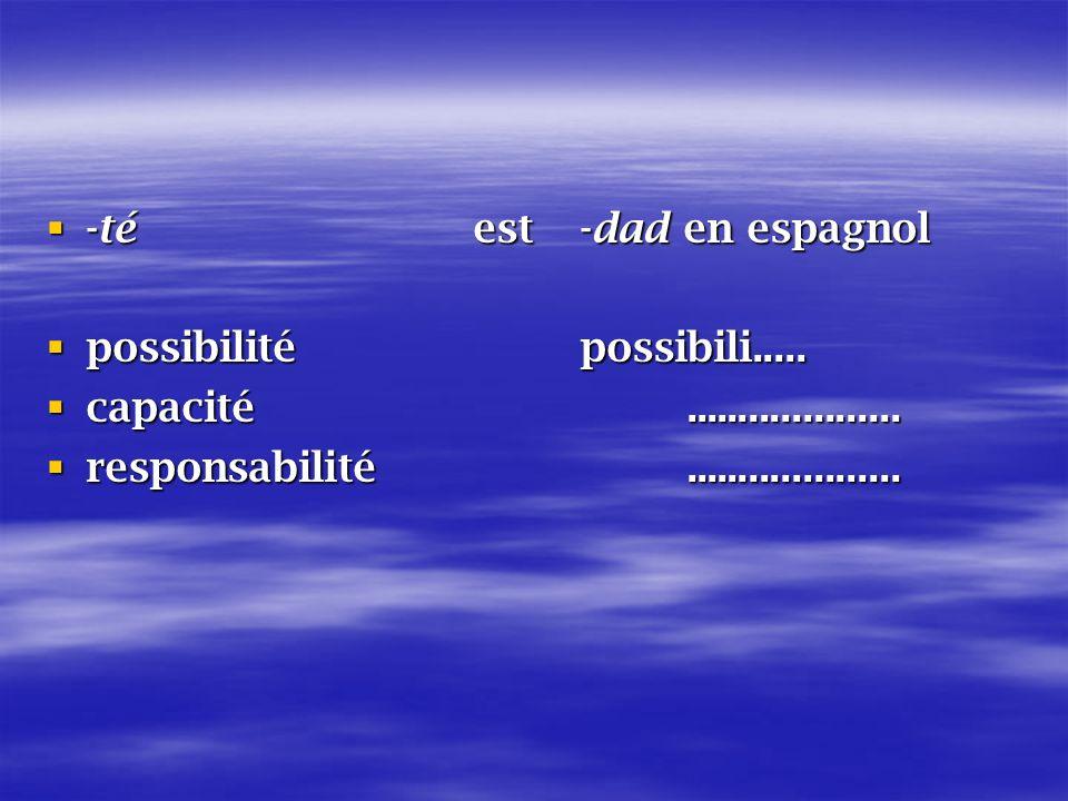 -téest -dad en espagnol -téest -dad en espagnol possibilité possibili.....