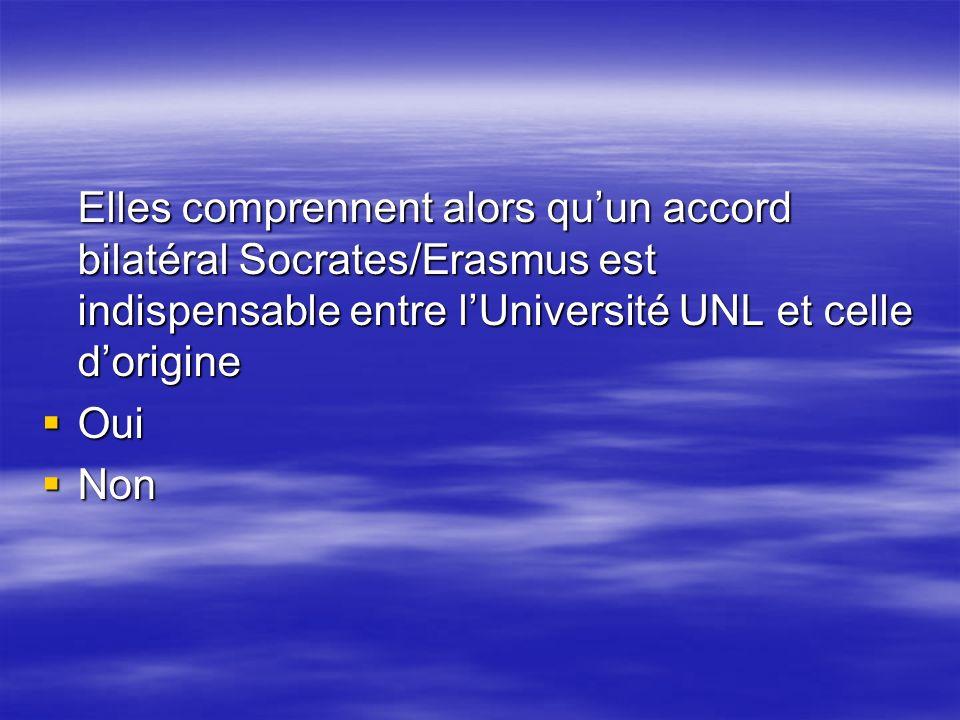Elles comprennent alors quun accord bilatéral Socrates/Erasmus est indispensable entre lUniversité UNL et celle dorigine Oui Oui Non Non