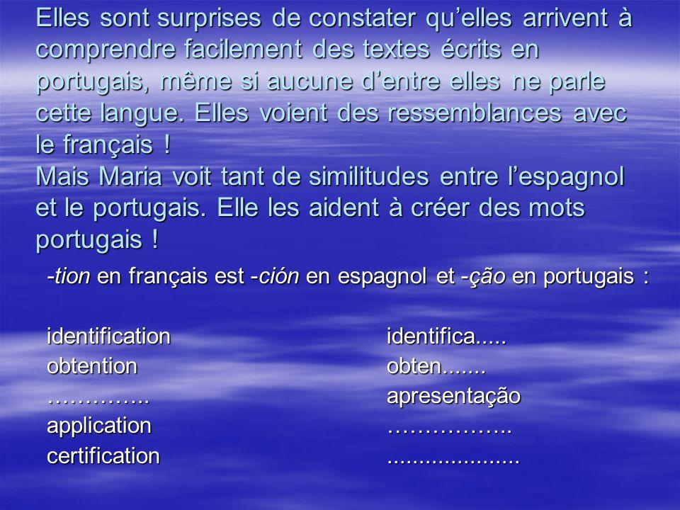 Elles sont surprises de constater quelles arrivent à comprendre facilement des textes écrits en portugais, même si aucune dentre elles ne parle cette langue.