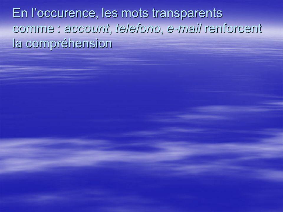 En loccurence, les mots transparents comme : account, telefono, e-mail renforcent la compréhension