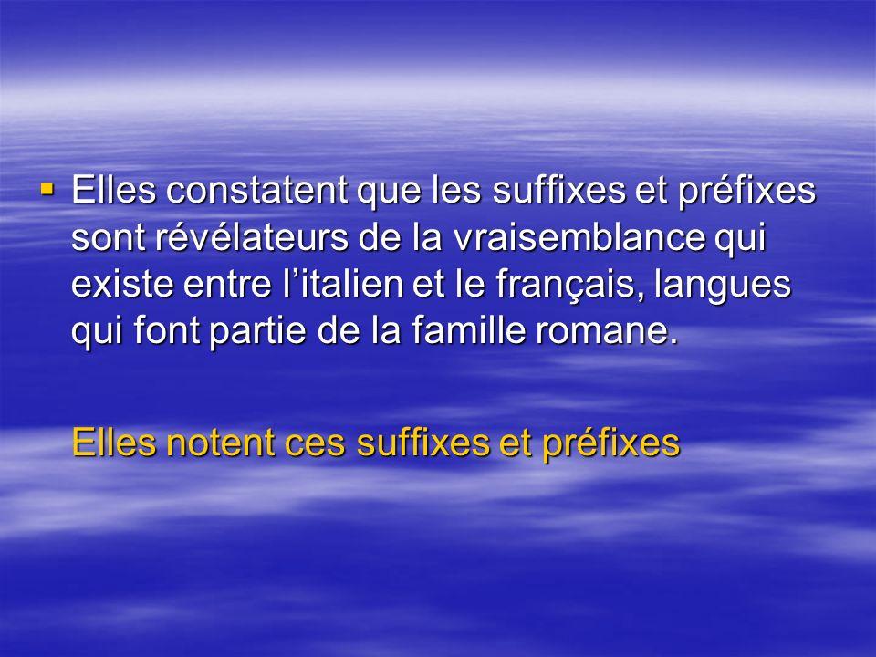 Elles constatent que les suffixes et préfixes sont révélateurs de la vraisemblance qui existe entre litalien et le français, langues qui font partie de la famille romane.