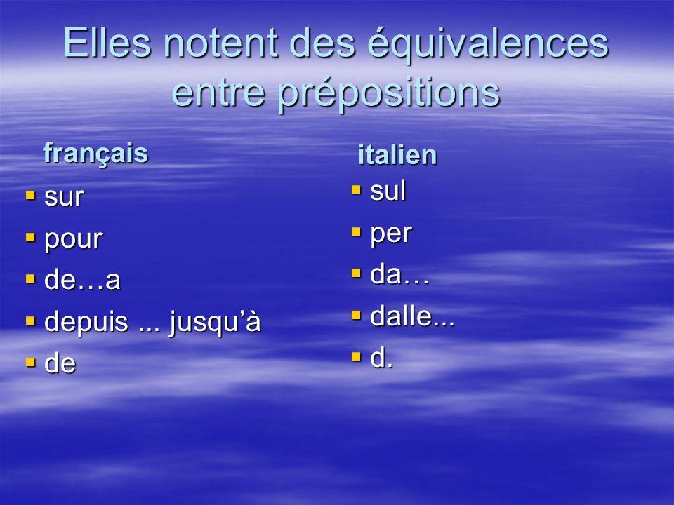 Elles notent des équivalences entre prépositions sur sur pour pour de…a de…a depuis...