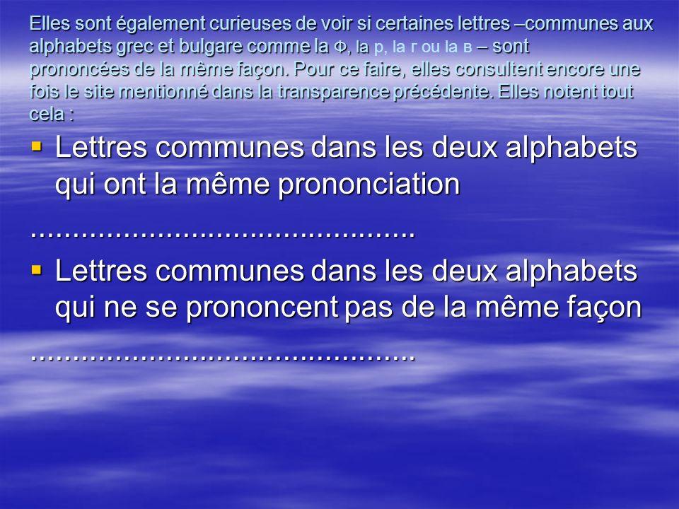 Elles sont également curieuses de voir si certaines lettres –communes aux alphabets grec et bulgare comme la Ф, la – sont prononcées de la même façon.
