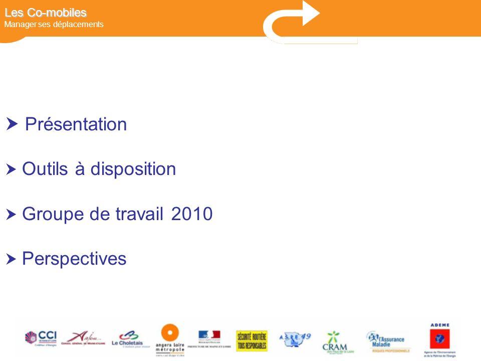 DEPLACEMENTS Présentation Outils à disposition Groupe de travail 2010 Perspectives Les Co-mobiles Les Co-mobiles Manager ses déplacements