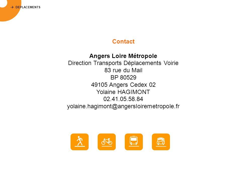 DEPLACEMENTS Contact Angers Loire Métropole Direction Transports Déplacements Voirie 83 rue du Mail BP 80529 49105 Angers Cedex 02 Yolaine HAGIMONT 02.41.05.58.84 yolaine.hagimont@angersloiremetropole.fr