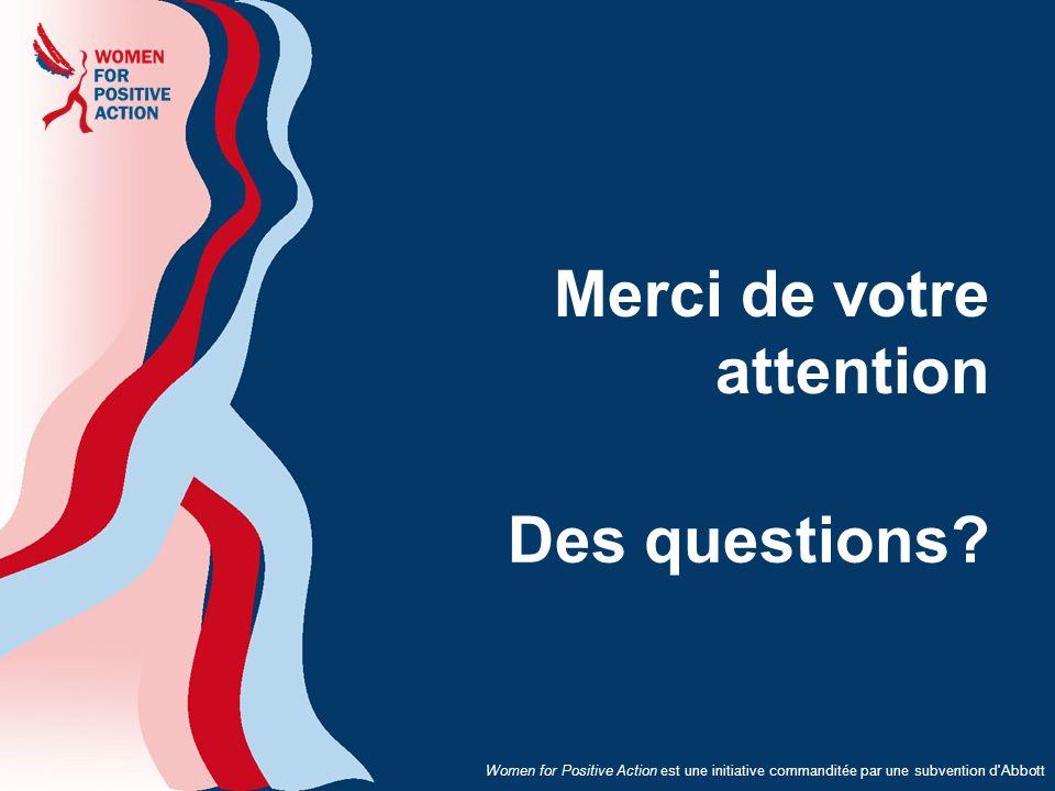 Women for Positive Action est une initiative commanditée par une subvention d'Abbott Merci de votre attention Des questions?