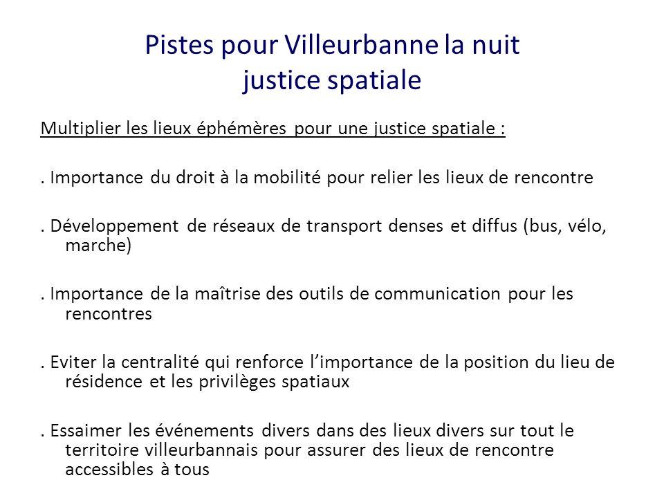Pistes pour Villeurbanne la nuit justice spatiale Multiplier les lieux éphémères pour une justice spatiale :. Importance du droit à la mobilité pour r