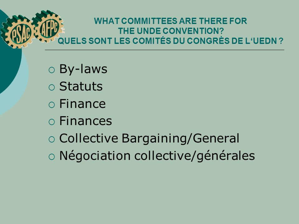 WHAT COMMITTEES ARE THERE FOR THE UNDE CONVENTION? QUELS SONT LES COMITÉS DU CONGRÈS DE LUEDN ? By-laws Statuts Finance Finances Collective Bargaining
