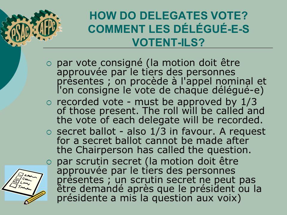 par vote consigné (la motion doit être approuvée par le tiers des personnes présentes ; on procède à l appel nominal et l on consigne le vote de chaque délégué e) recorded vote - must be approved by 1/3 of those present.