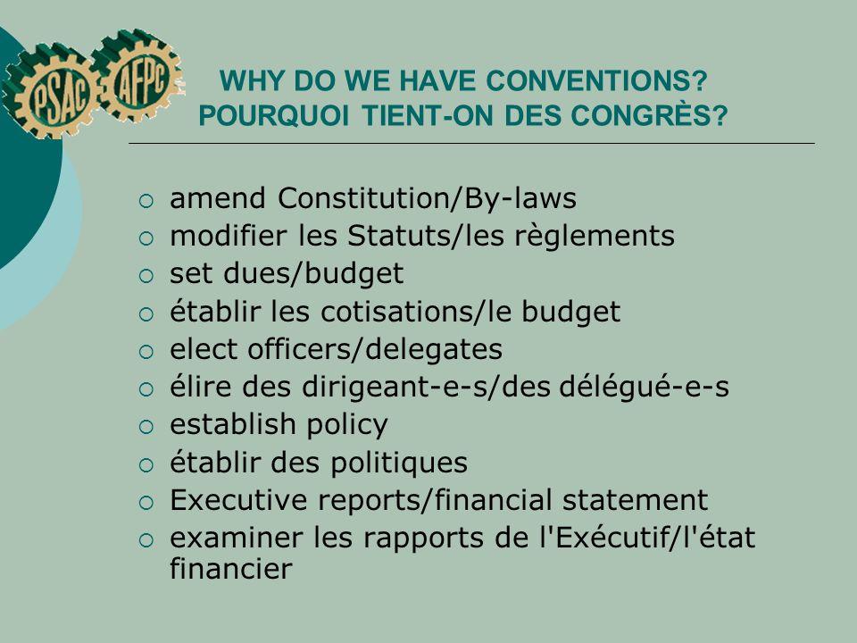 WHY DO WE HAVE CONVENTIONS? POURQUOI TIENT ON DES CONGRÈS? amend Constitution/By-laws modifier les Statuts/les règlements set dues/budget établir les