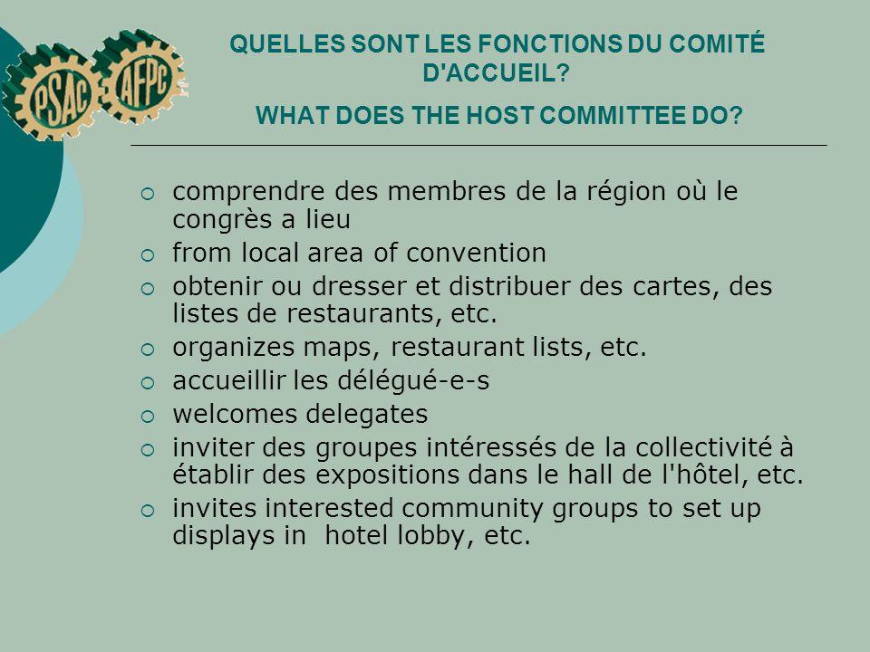 QUELLES SONT LES FONCTIONS DU COMITÉ D'ACCUEIL? WHAT DOES THE HOST COMMITTEE DO? comprendre des membres de la région où le congrès a lieu from local a