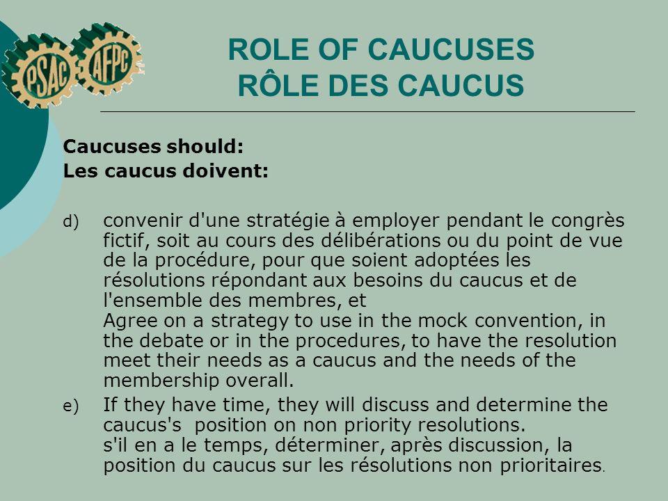 ROLE OF CAUCUSES RÔLE DES CAUCUS Caucuses should: Les caucus doivent: d) convenir d'une stratégie à employer pendant le congrès fictif, soit au cours