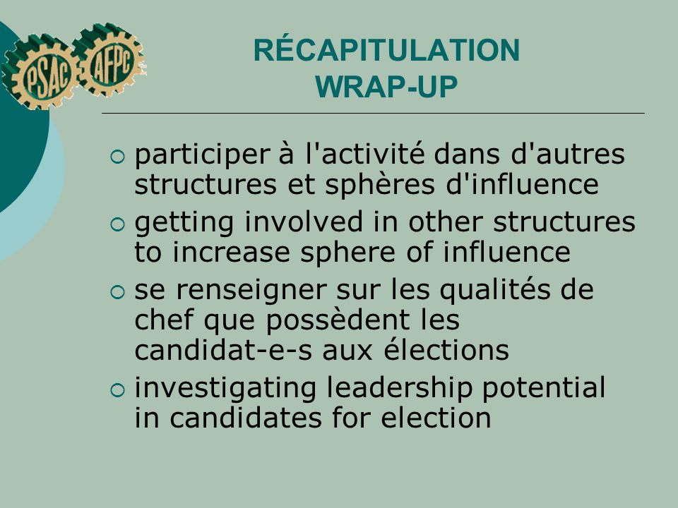 RÉCAPITULATION WRAP-UP participer à l'activité dans d'autres structures et sphères d'influence getting involved in other structures to increase sphere