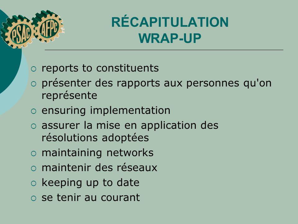 RÉCAPITULATION WRAP-UP reports to constituents présenter des rapports aux personnes qu'on représente ensuring implementation assurer la mise en applic