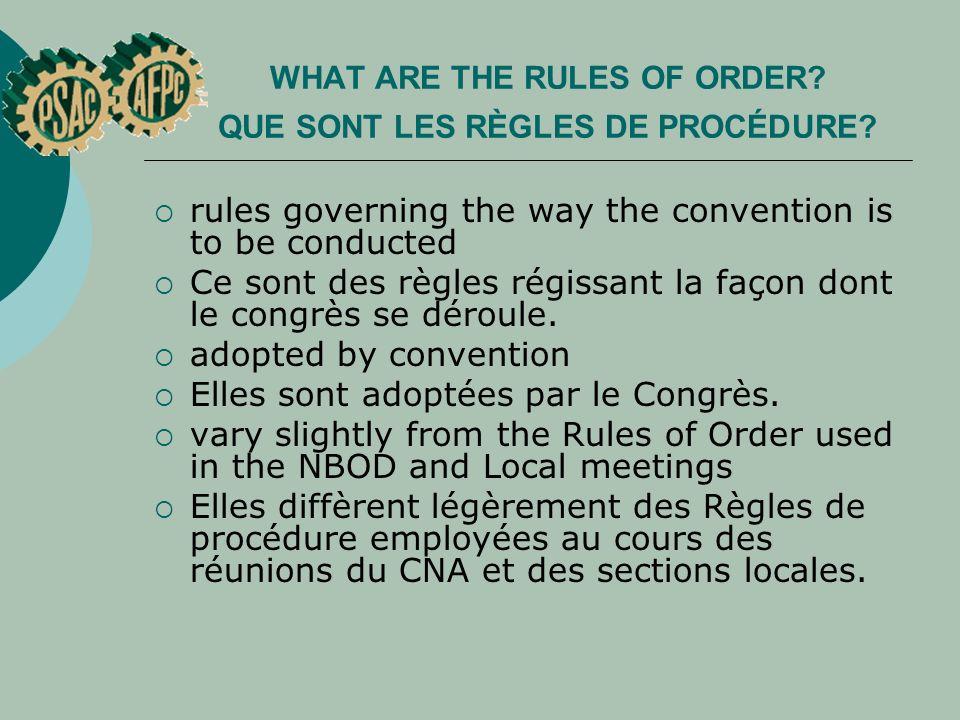 Voting procedure on a committee s recommendation Procédure de scrutin sur la recommandation du comité Question 4 Le comité des Statuts recommande le rejet d une résolution visant à modifier les Statuts de manière à accorder le droit de vote aux délégué e s des conseils régionaux.