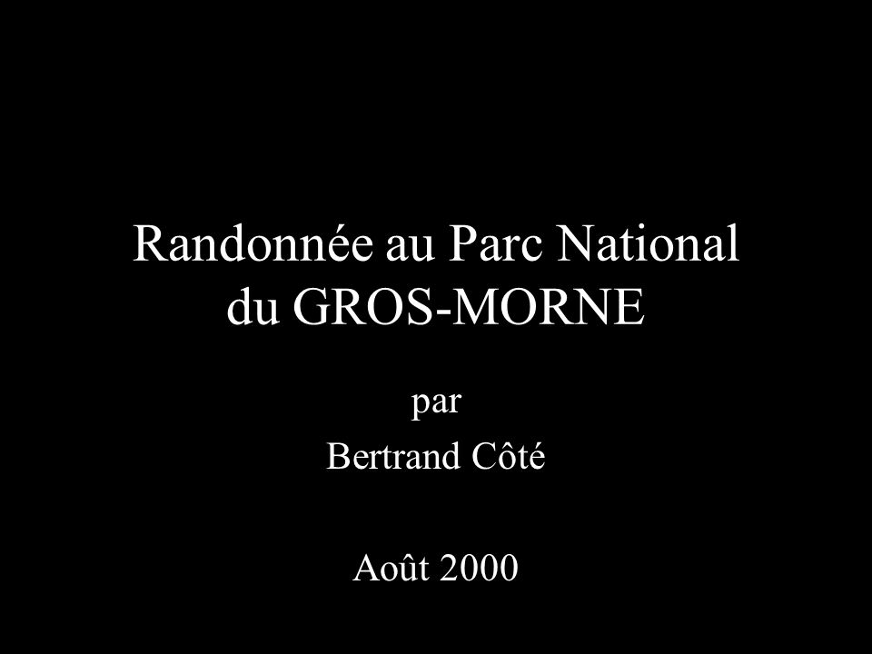 Randonnée au Parc National du GROS-MORNE par Bertrand Côté Août 2000