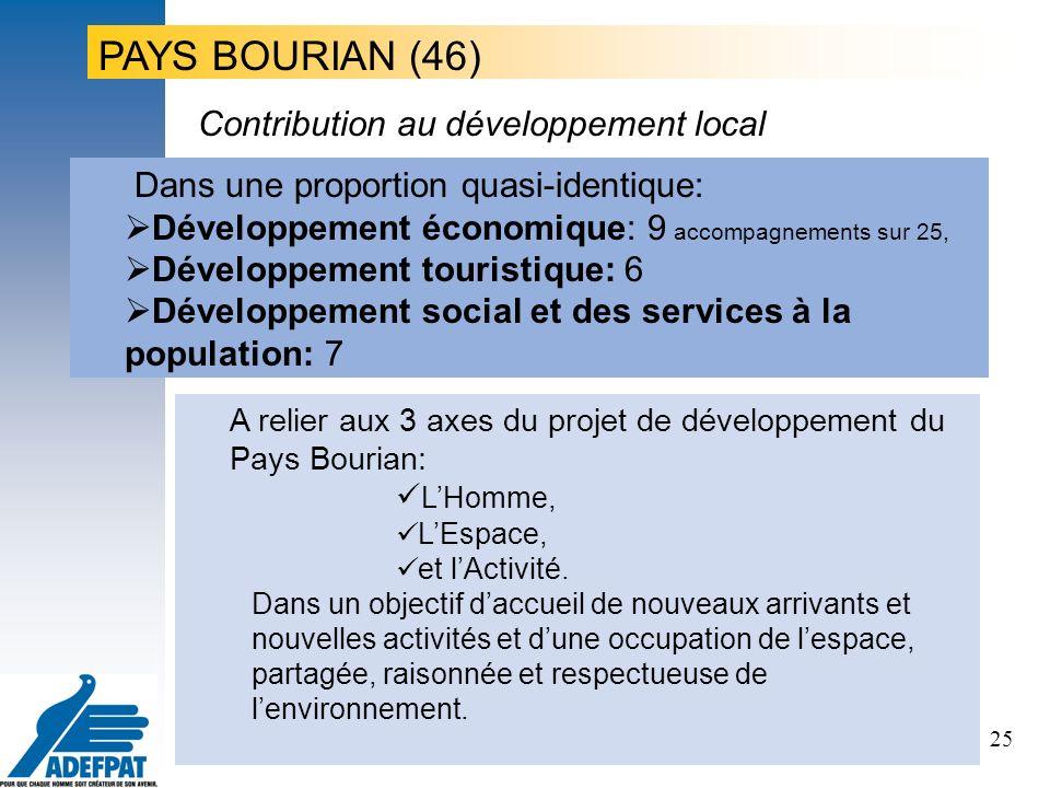 25 Dans une proportion quasi-identique: Développement économique: 9 accompagnements sur 25, Développement touristique: 6 Développement social et des services à la population: 7 Contribution au développement local A relier aux 3 axes du projet de développement du Pays Bourian: LHomme, LEspace, et lActivité.