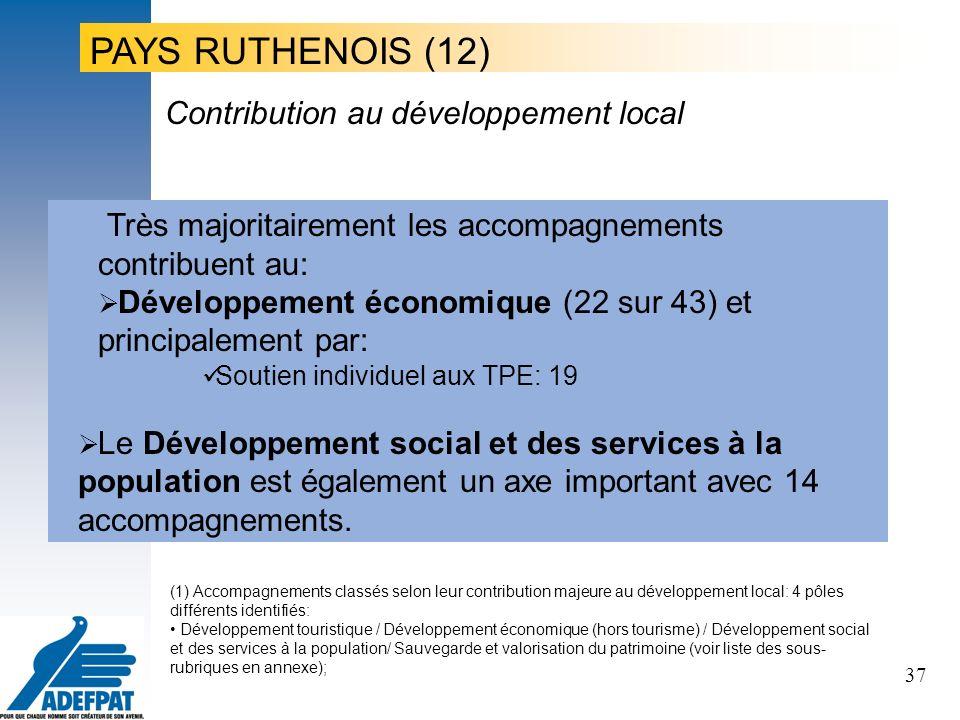 37 Très majoritairement les accompagnements contribuent au: Développement économique (22 sur 43) et principalement par: Soutien individuel aux TPE: 19 Le Développement social et des services à la population est également un axe important avec 14 accompagnements.
